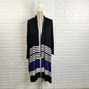 DKNY Black Blue White Striped High Low Cardigan